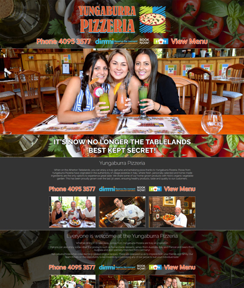 yungaburra pizzeria website design