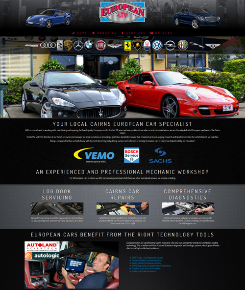 european autos website design