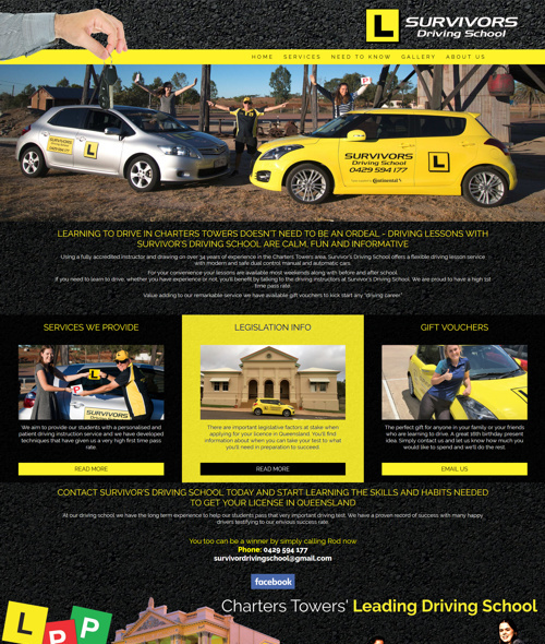 survivors driving school website design