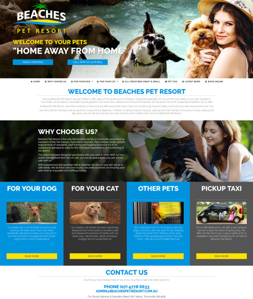 pet resort townsville website design